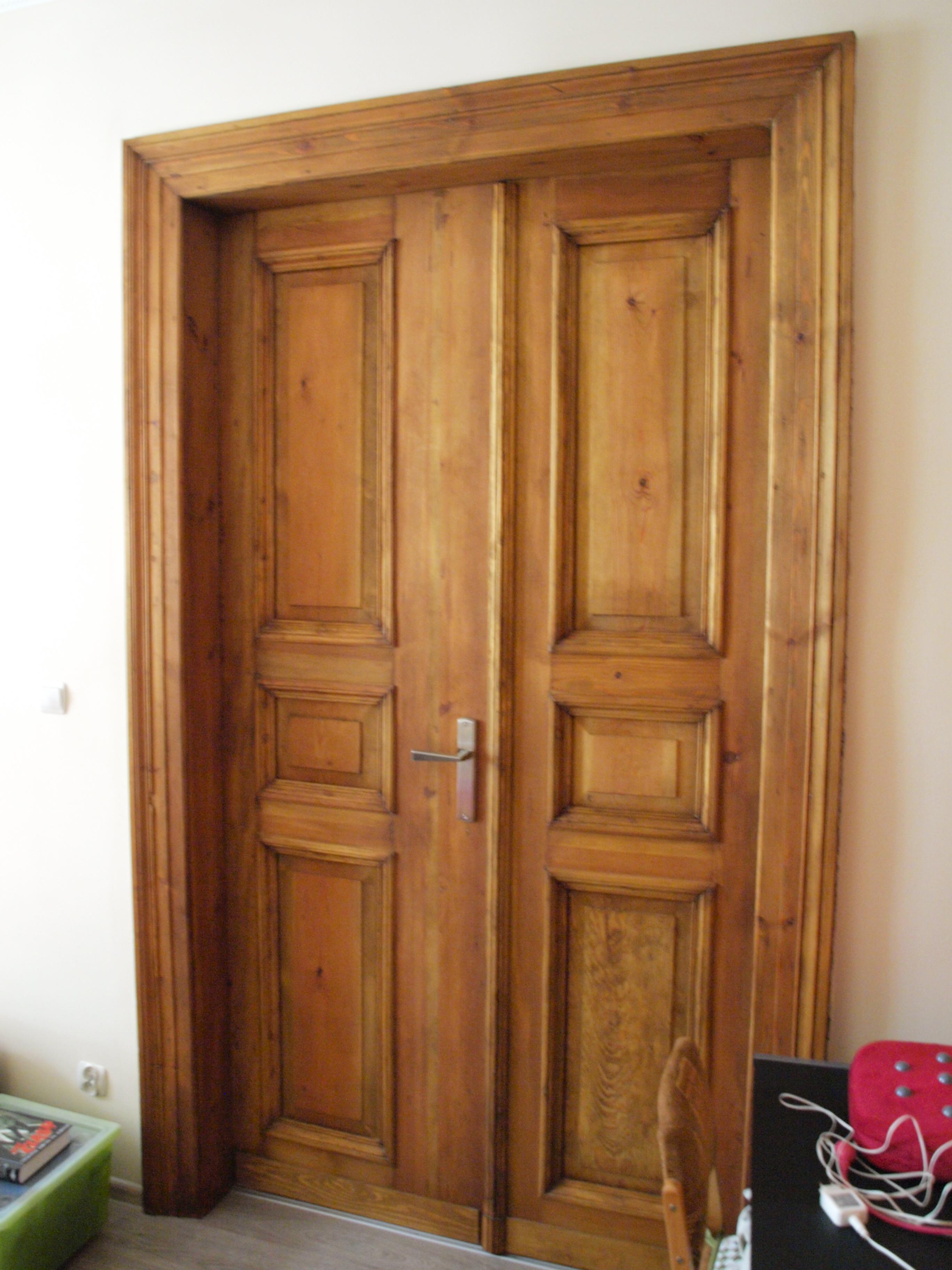 drzwi sosnowe dwuskrzydłowe profilowane wrocław