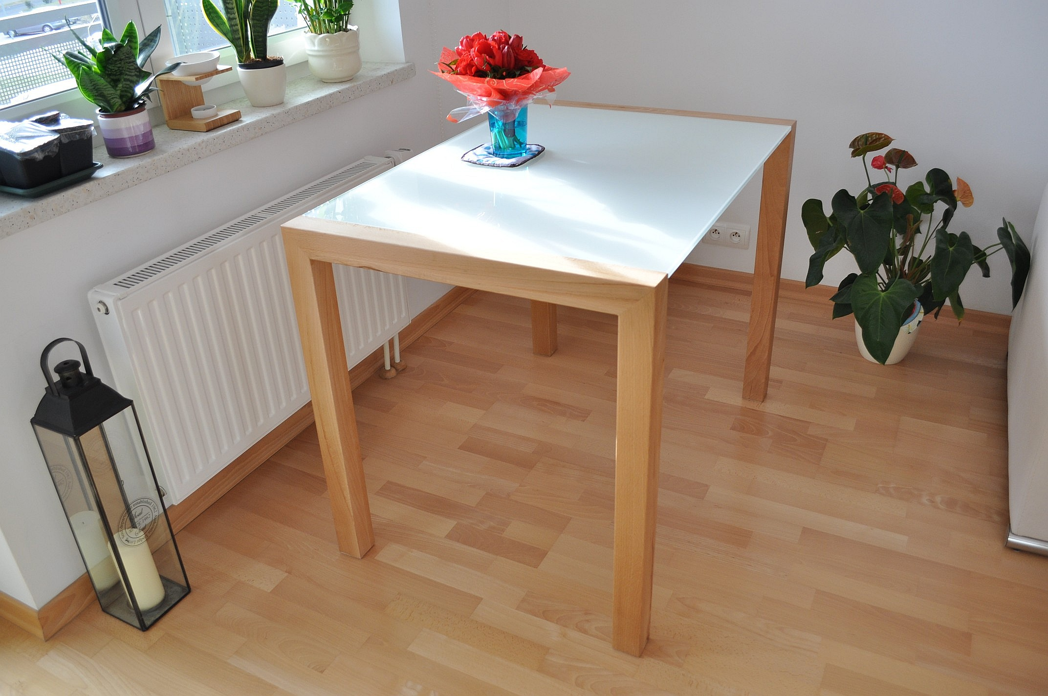 Stół bezoskrzyniowy drewno metal szkło wrocław